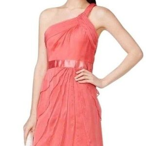 ADRIANNA PAPELL CORAL CHIFFON 1 SHOULDER DRESS 16
